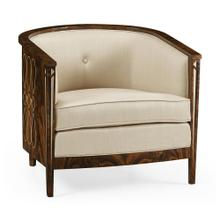 Knightbridge Antique Mahogany Tub Chair, Upholstered in MAZO