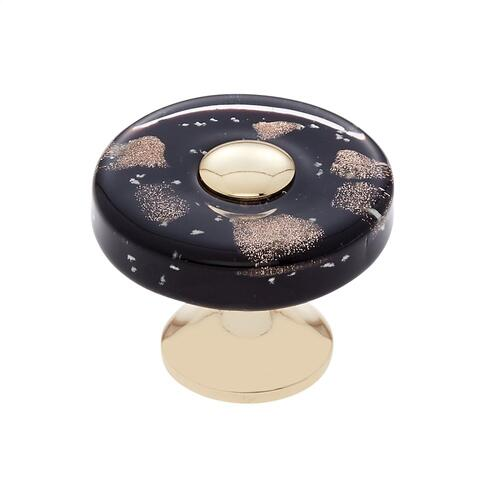 24k Gold 35 mm Black Flat Round Knob