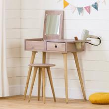 Solid Wood Vanity Table with Stool Set - Pink Wood