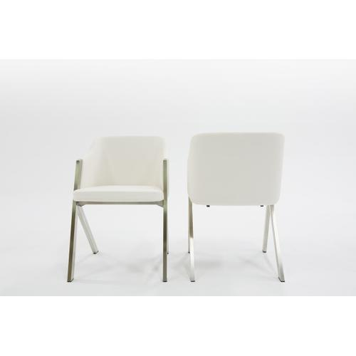 Modrest Darcy Modern White Leatherette Dining Chair (Set of 2)