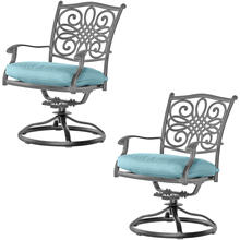 Hanover Set of 2 Traditions Swivel Rockers with Blue Cushions and Grey Finish, AAF06001F03-2