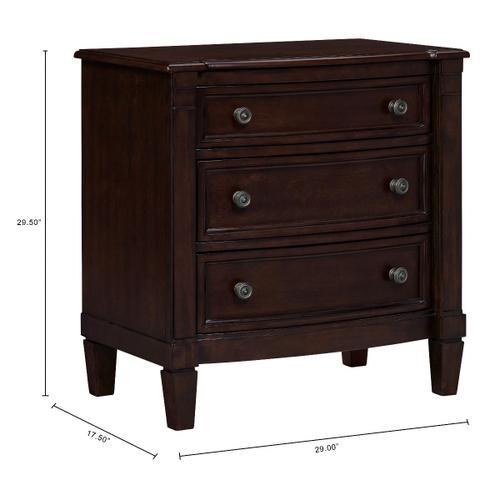 Mallory 3-Drawer Nightstand, Cherry Brown