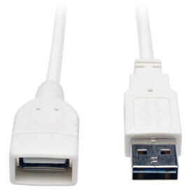 Universal Reversible USB 2.0 Extension Cable (Reversible A to A M/F), White, 10 ft. (3.05 m)