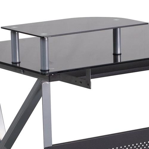 Flash Furniture - Black Glass Computer Desk with Pull-Out Keyboard Tray and CPU Cart