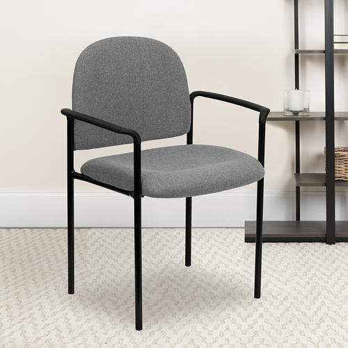 Gallery - Comfort Gray Fabric Stackable Steel Side Reception Chair with Arms