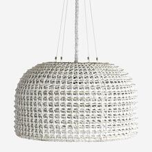 "24"" Delphine Woven Chandelier, White - Small(**40"" cord, not adjustable)"