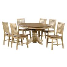 See Details - Round or Oval Butterfly Leaf Dining Set w/Slat Back Chairs (7 piece)