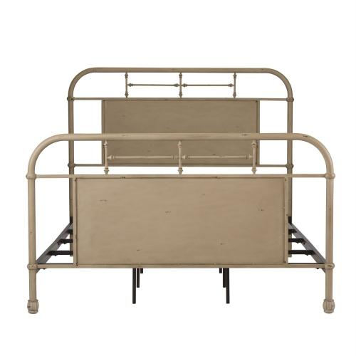 Queen Metal Bed - Vintage Cream