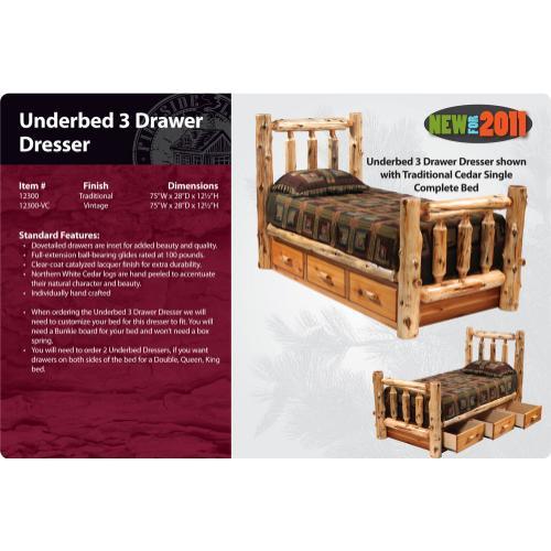 Underbed 3 Drawer Dresser - Cedar