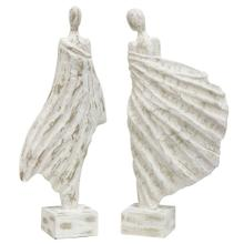 View Product - WINDSWEPT LADIES  21in x 11in  Set of two standing lady painted natural wood statues  Made in Ind