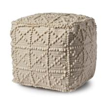 See Details - Leroy Ivory Wool Popcorn Detail Sqaure Pouf