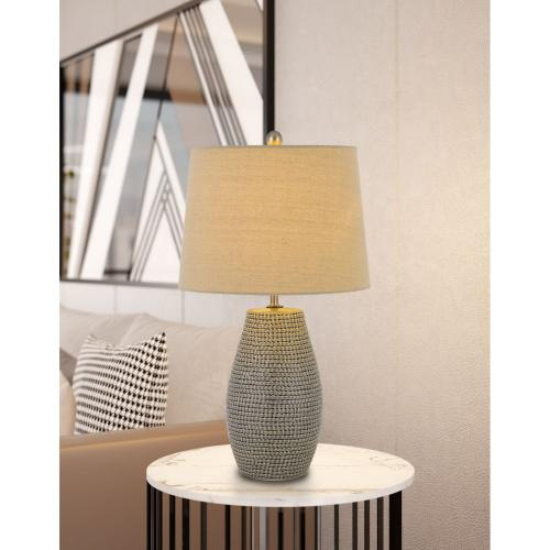 100W Ticino Ceramic Table Lamp With Taper Drum Hardback Linen Shade (Priced And Sold As Pairs)