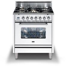 Professional Plus 30 Inch Gas Natural Gas Freestanding Range in White with Chrome Trim