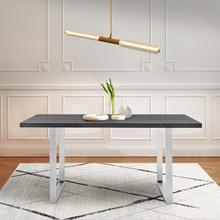 See Details - Fenton Dining Table with Charcoal Top and Brushed Stainless Steel Base