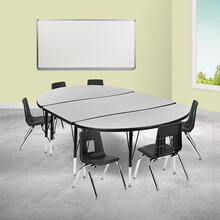 """76"""" Oval Wave Collaborative Laminate Activity Table Set with 12"""" Student Stack Chairs, Grey\/Black"""