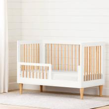 Toddler Rail for Baby Crib - Pure White and Exotic Light Wood