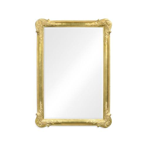 French 19th century tall rectangular gilded mirror (Plain)