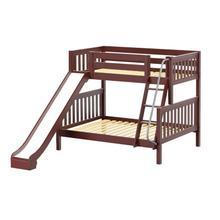 Twin/Full (Low/Med) Bunk w/ Angle Ladder & Slide : Twin/Full : Chestnut : Slat