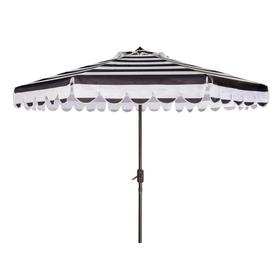 Maui Single Scallop Striped 9ft Crank Auto Tilt Umbrella - Black / White