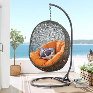 Hide Outdoor Patio Swing Chair With Stand in Gray Orange