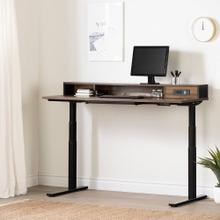 Adjustable Height Standing Desk with Built In Power Bar - Natural Walnut