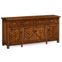 Heavily distressed parquet sideboard with strap handles