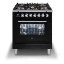 Professional Plus 30 Inch Dual Fuel Natural Gas Freestanding Range in Glossy Black with Chrome Trim