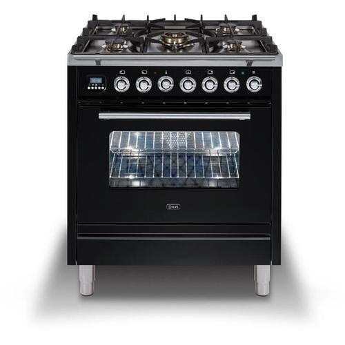 Ilve - Professional Plus 30 Inch Dual Fuel Natural Gas Freestanding Range in Glossy Black with Chrome Trim