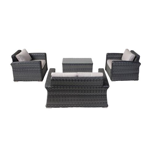 Luna Wicker Aluminum LoveSeat Group w/ Sunbrella cushions