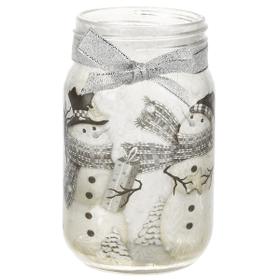 Winter Snowman - Glass Jar with Light Decor
