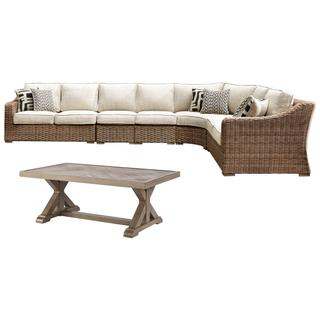 See Details - 3-piece Outdoor Sectional With Chair and Coffee Table