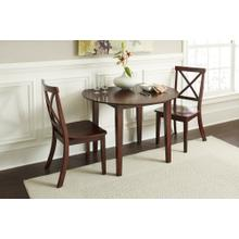 Everyday Classics Round Drop Leaf Table With 2 Ladder Back Chairs- Cherry