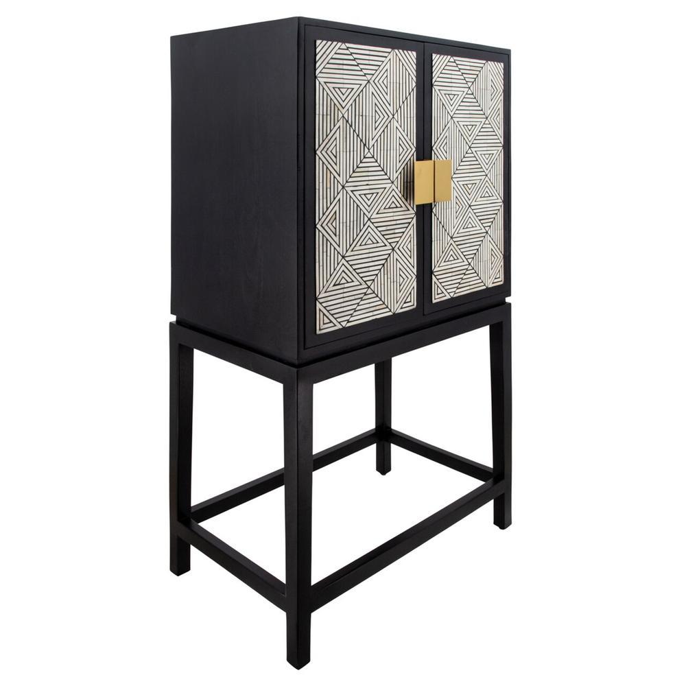 """54"""" Wood 2-door Cabinet, Black"""