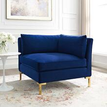 Ardent Performance Velvet Sectional Sofa Corner Chair in Navy