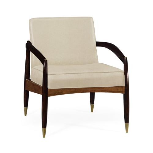 Contemporary Hyedua & Ebonised Occasional Chair, Upholstered in MAZO