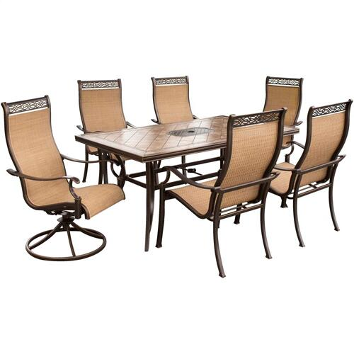 Hanover Monaco 7 Pc. Dining Set - Two Swivel Chairs, Four Dining Chairs, and a 40 x 68 in. Table, MONACO7PCSW