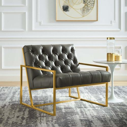 Bequest Antique Gold Stainless Steel Faux Leather Accent Chair in Gray