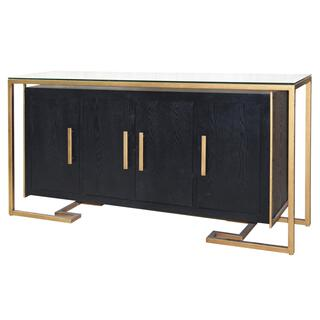 Firenze Floating Sideboard 4 Doors Gold Frame, Espresso
