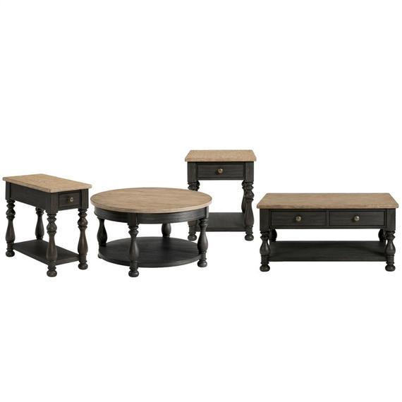 Riverside - Side Table - Antique Oak/matte Black Finish