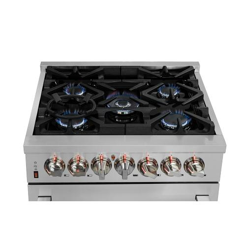 "30"" Gas Range with 240 Volt Electric Oven Dual Fuel FORNO ALTA QUALITA Pro-Style with 5 Defendi Italian Burners 68,000 BTU All 304 Stainless Steel FFSGS6125-30"