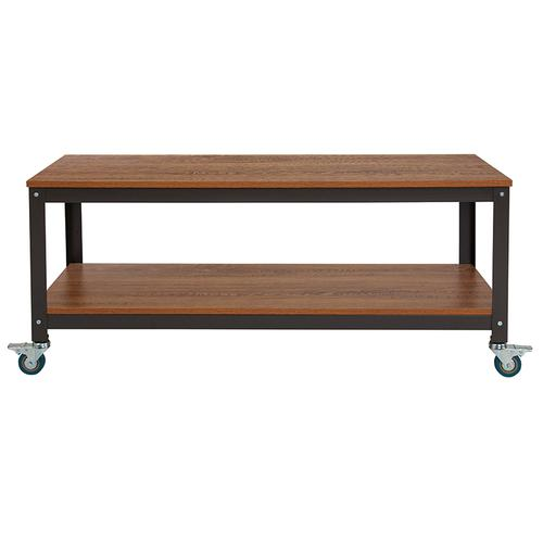 Flash Furniture - Livingston Collection TV Stand in Brown Oak Wood Grain Finish with Metal Wheels