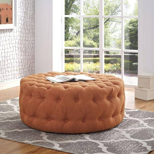 Modway - Amour Upholstered Fabric Ottoman in Orange