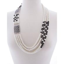 BTQ Faux Pearl and Black Beaded Necklace