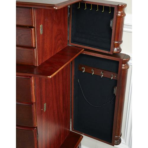 5-drawer and 4 Side Doors Jewelry Armoire, Classic Cherry and Black