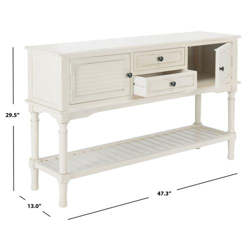 Safavieh - Tate 2 Drawer 2 Door Console Table - Distressed White