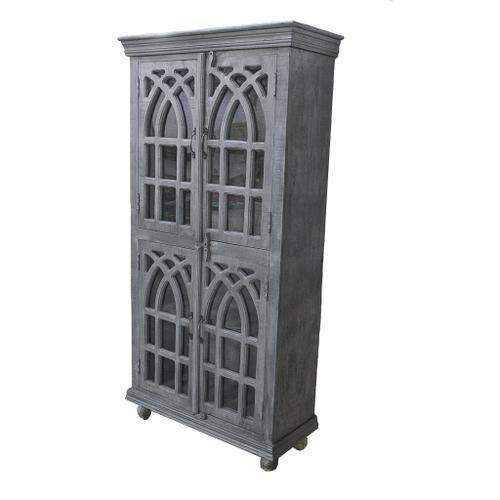 See Details - Bengal Manor Light Grey Mango Wood Cathedral Design 4 Door Cabinet