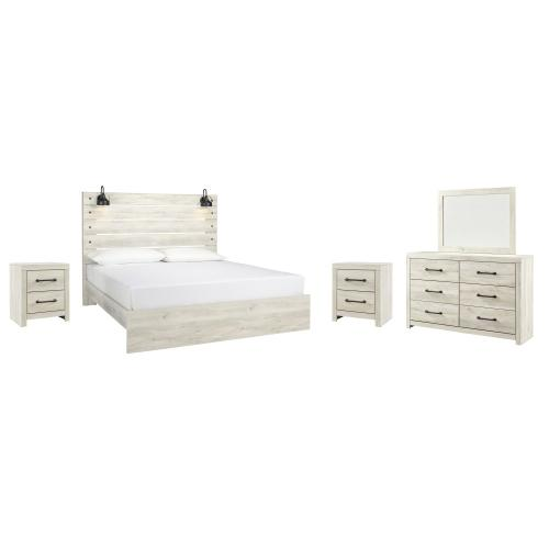 Ashley - King Panel Bed With Mirrored Dresser and 2 Nightstands