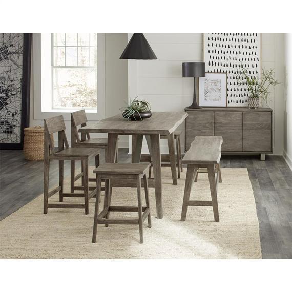 Riverside - Waverly - Counter Height Dining Bench - Sandblasted Gray Finish