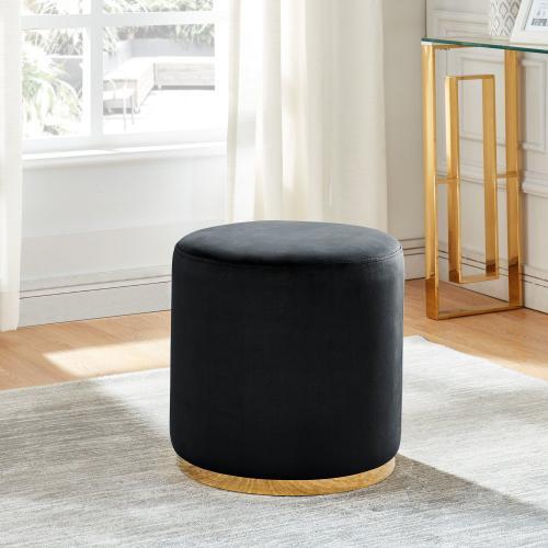 Sonata Round Ottoman in Black/Gold