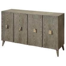 Curved Four Door Credenza Made of Ash Wood Veneer on MDF & Wood Solids In Slate Grey Finish with Whi